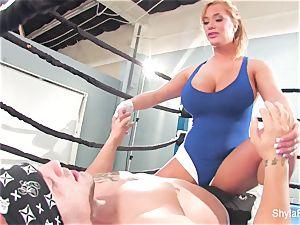 buxom blondie Shyla Stylez does some hardcore training