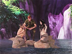 sizzling mermaid 3 way with Aiden Ashley and Mia Malkova