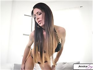 Jessica Jaymes showcase you her huge baps and wet cunny