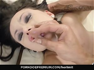 HER restrain humungous bosoms babe takes yam-sized prick in gaped donk