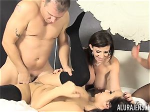 twat eating and cumswap fuck-a-thon with Alura Jenson and her stunning friends