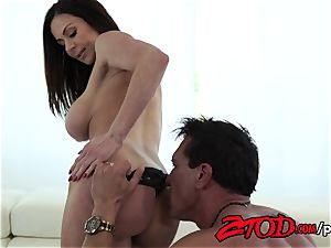 Kendra eagerness attacks a huge bum meatpipe with all her slots