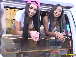 Raven Wylde and Bethany Benz facial cumshot in ice fluid truck get vulva smashed