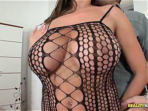 humungous boobied sensuous Jane plumbs in fishnet