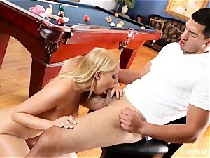 bombshell Vanessa box gets bent over the pool table
