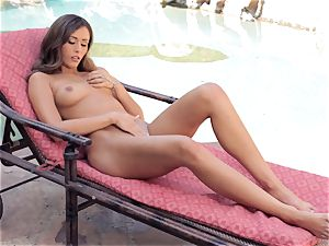 Anastasia black super-steamy getting off by the pool