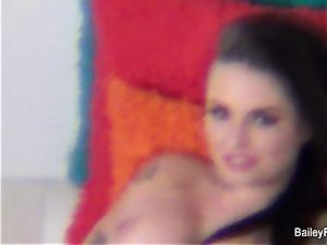 Dahlia Sky watches Christy on set
