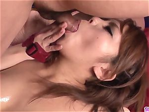 big-boobed Kanna Itou rock hard penetrated and made to drink