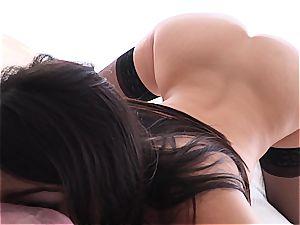 pornography pornstar Valentina Nappi widely opened on penis