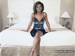 big-chested black sweetheart Lola oiled to deepthroat spear