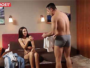 european nubile Gets Help and ginormous wood from Stranger