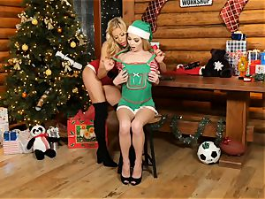 Mrs Claus Alexis Fawx tongues out elf Angel Smalls