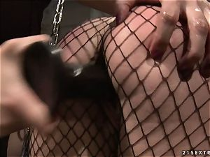 Katy Borman shackled blonde shag with fake penis in the donk
