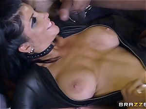 harsh in rubber Romi Rain gets banged by trio scorching hard-ons
