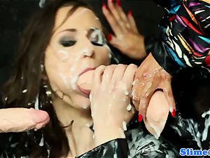 Samantha B showered in jism