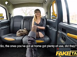 fake taxi huge-chested towheaded cougar Amber Jayne inhales and porks