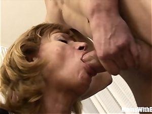 man sausage greedy platinum-blonde Mama smashed By youthful nubile