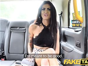 fake taxi cuckold black-haired takes enormous pecker in caboose