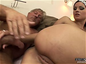 dark haired tart gets fucked rigid by an older boy