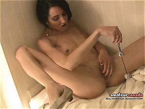 skinny French chick with lil' jugs ejaculates using ben