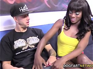 Ana Foxxx smashes A white guy In Front Of Her bf