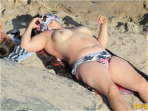 steamy sans bra mummies ginormous fun bags - inexperienced spycam Beach video