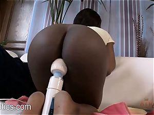 Skyler Nicole loves the massager on her ebony slit