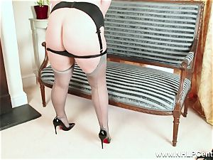 bootylicious blonde wanks in grey nylons and high stilettos