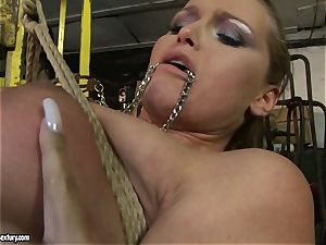 Kathia Nobili and Mandy Bright assets tying with wire