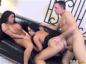 Sybil Stallone and her pal toying with Keiran Lee and his ample boner