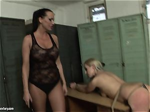 Mandy Bright slapping the ass red-hot platinum-blonde honey