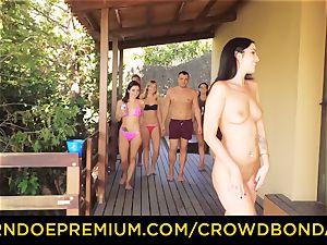 CROWD bondage Outdoor pool fuck-fest for sizzling Loren Minardi